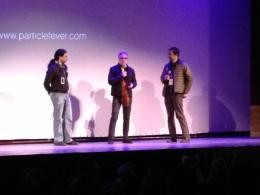 Physicist David Kaplan, left, and director Mark Levinson answer questions after the film as True/False festival co-director Paul Sturtz moderates.